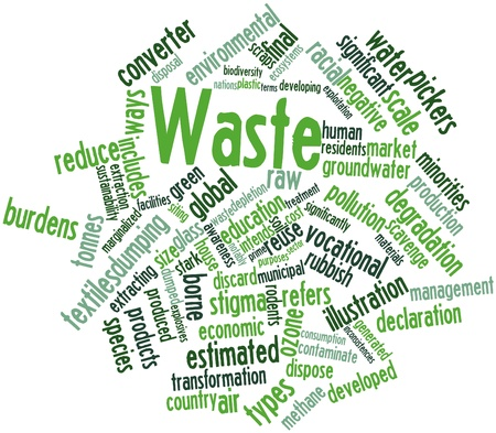 waste products: Abstract word cloud for Waste with related tags and terms Stock Photo