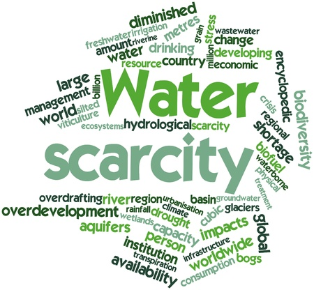 Abstract word cloud for Water scarcity with related tags and terms photo