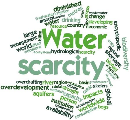 causaba: Nube palabra abstracta por la escasez de agua con etiquetas y t�rminos relacionados Foto de archivo