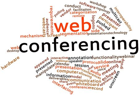 depend: Abstract word cloud for Web conferencing with related tags and terms Stock Photo