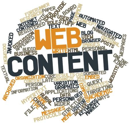 Nube palabra abstracta para el contenido Web con etiquetas y términos relacionados Foto de archivo