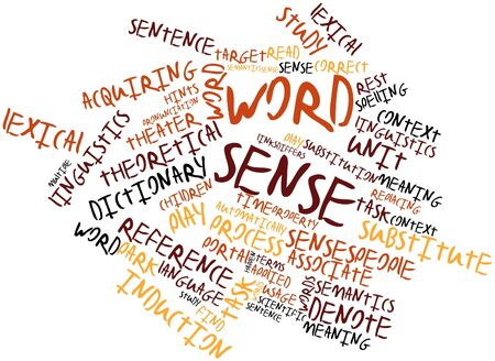 semantics: Abstract word cloud for Word sense with related tags and terms
