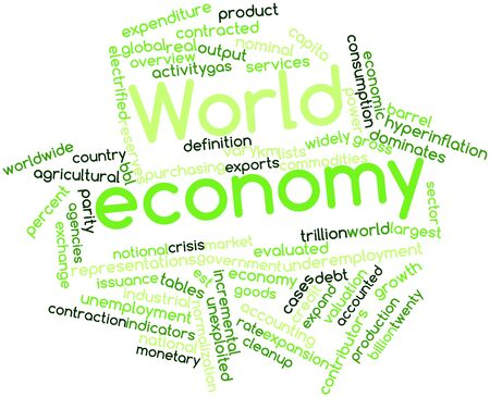 maturing: Abstract word cloud for World economy with related tags and terms Stock Photo