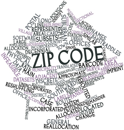 prefix: Abstract word cloud for ZIP code with related tags and terms Stock Photo