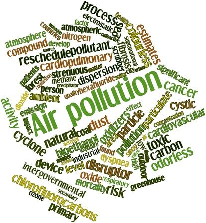 contaminaci�n de aire: Nube de la palabra abstracta de la contaminaci�n del aire con las etiquetas y t�rminos relacionados