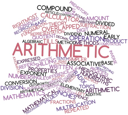 pence: Abstract word cloud for Arithmetic with related tags and terms Stock Photo