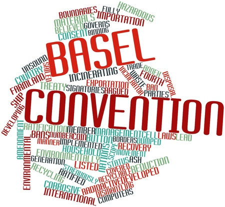 convention: Abstract word cloud for Basel Convention with related tags and terms Stock Photo
