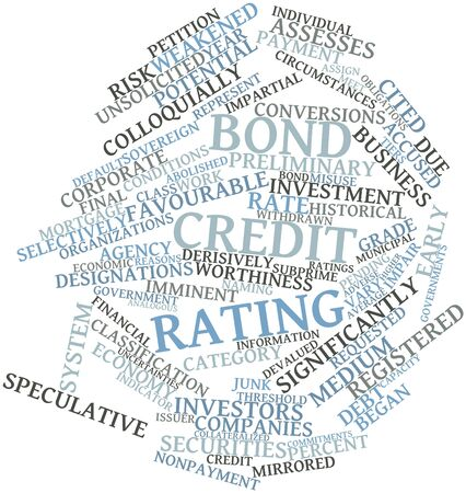 unsolicited: Abstract word cloud for Bond credit rating with related tags and terms Stock Photo