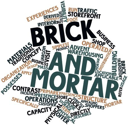 possesses: Abstract word cloud for Brick and mortar with related tags and terms