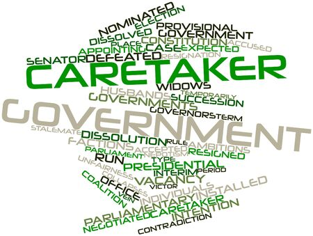 caretaker: Abstract word cloud for Caretaker government with related tags and terms