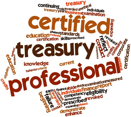 awarded: Abstract word cloud for Certified Treasury Professional with related tags and terms Stock Photo