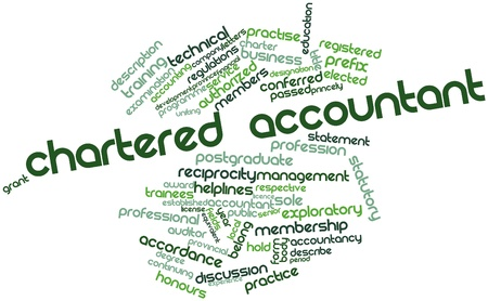 accordance: Abstract word cloud for Chartered Accountant with related tags and terms