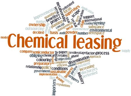 dissemination: Abstract word cloud for Chemical leasing with related tags and terms Stock Photo
