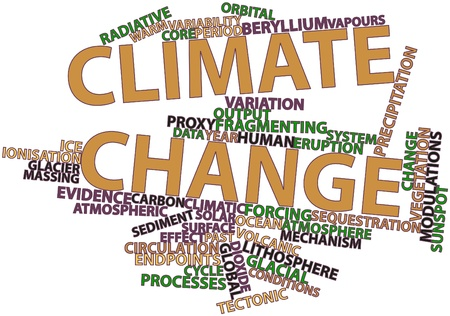 Abstract word cloud for Climate change with related tags and terms