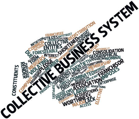 antitrust: Abstract word cloud for Collective business system with related tags and terms Stock Photo