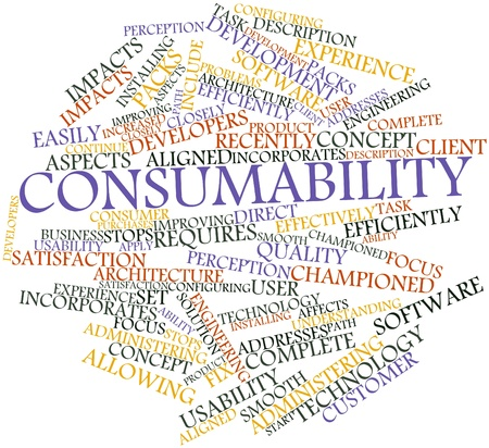 effectively: Abstract word cloud for Consumability with related tags and terms Stock Photo