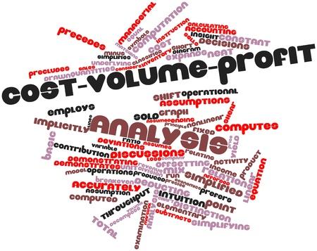 clavados: Nube palabra abstracta para el análisis de costo-volumen-utilidad con las etiquetas y términos relacionados
