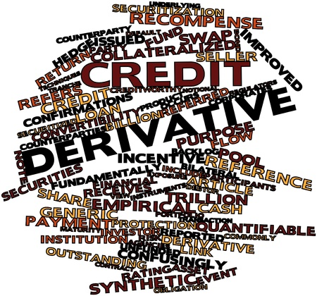 reference point: Abstract word cloud for Credit derivative with related tags and terms Stock Photo