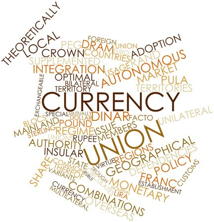 dram: Abstract word cloud for Currency union with related tags and terms