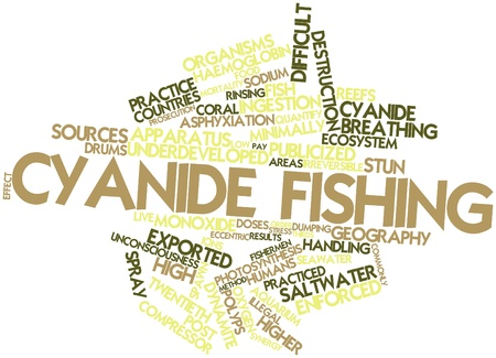 fishing area: Abstract word cloud for Cyanide fishing with related tags and terms