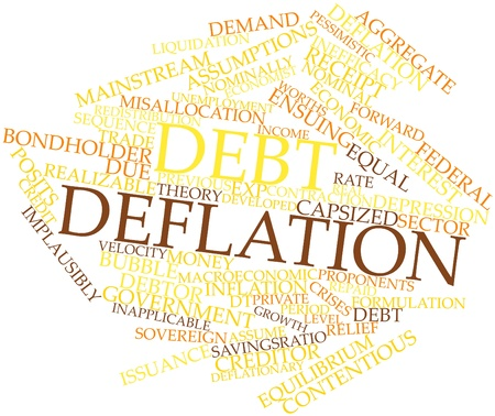 cited: Abstract word cloud for Debt deflation with related tags and terms Stock Photo