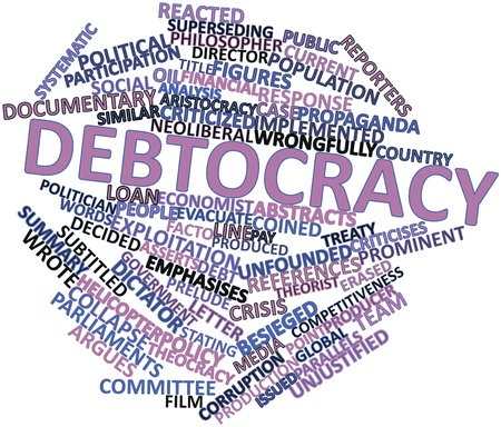 resemblance: Abstract word cloud for Debtocracy with related tags and terms
