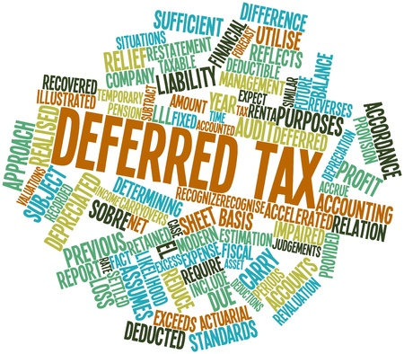 Abstract word cloud for Deferred tax with related tags and terms photo