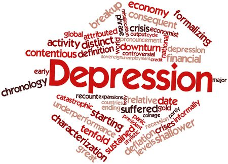 Abstract word cloud for Depression with related tags and terms photo