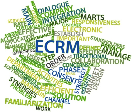 frontline: Abstract word cloud for ECRM with related tags and terms
