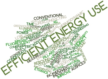 energy use: Abstract word cloud for Efficient energy use with related tags and terms Stock Photo