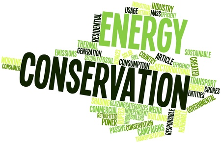 gaseous: Abstract word cloud for Energy conservation with related tags and terms Stock Photo