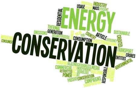 Nuage de mots abstraits pour la conservation de l'énergie avec des étiquettes et des termes connexes Banque d'images
