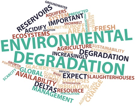 degradation: Abstract word cloud for Environmental degradation with related tags and terms