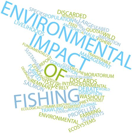 Abstract word cloud for Environmental impact of fishing with related tags and terms photo