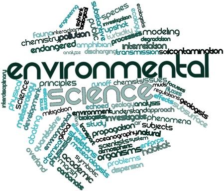 characterize: Nube palabra abstracta para la ciencia ambiental con las etiquetas y t�rminos relacionados Foto de archivo