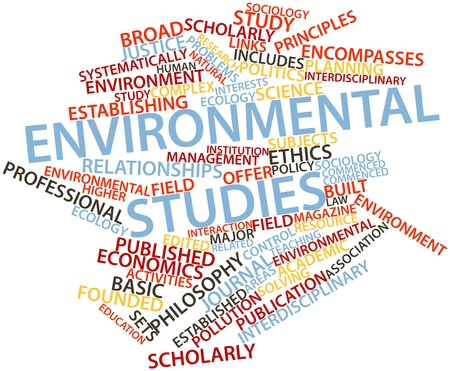 environmental policy: Abstract word cloud for Environmental studies with related tags and terms Stock Photo