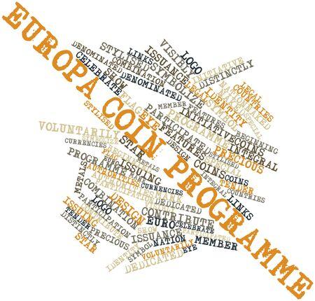 関連タグと用語ヨーロッパ硬貨プログラムの抽象的な単語の雲