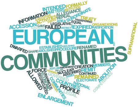 retained: Nube palabra abstracta para las Comunidades Europeas con etiquetas y términos relacionados