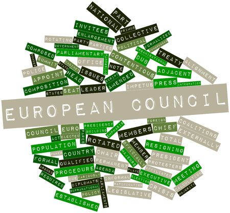 Abstract word cloud for European Council with related tags and terms