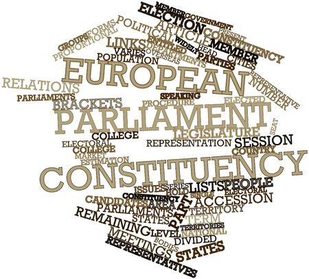 parliaments: Abstract word cloud for European Parliament constituency with related tags and terms