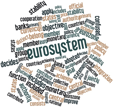 decides: Abstract word cloud for Eurosystem with related tags and terms Stock Photo