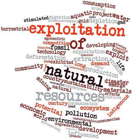 Abstract word cloud for Exploitation of natural resources with related tags and terms Stock Photo - 16498843