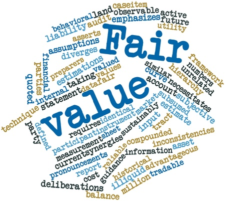 unrelated: Abstract word cloud for Fair value with related tags and terms Stock Photo