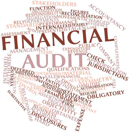misstatement: Abstract word cloud for Financial audit with related tags and terms