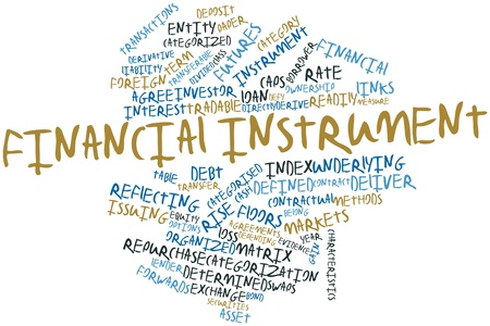 derive: Abstract word cloud for Financial instrument with related tags and terms Stock Photo