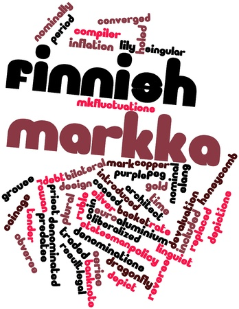 abbreviated: Abstract word cloud for Finnish markka with related tags and terms Stock Photo
