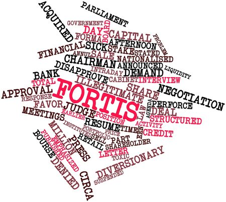 solvency: Abstract word cloud for Fortis with related tags and terms Stock Photo