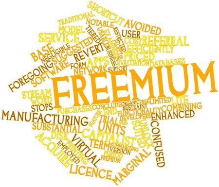 Abstract word cloud for Freemium with related tags and terms photo