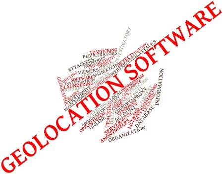geolocation: Abstract word cloud for Geolocation software with related tags and terms
