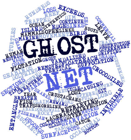 Abstract word cloud for Ghost net with related tags and terms Stock Photo - 16499309